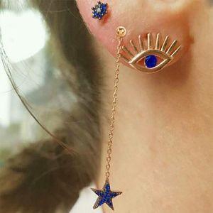 PREVIEW Evil Eye Star Crystal Studs Drop Earrings